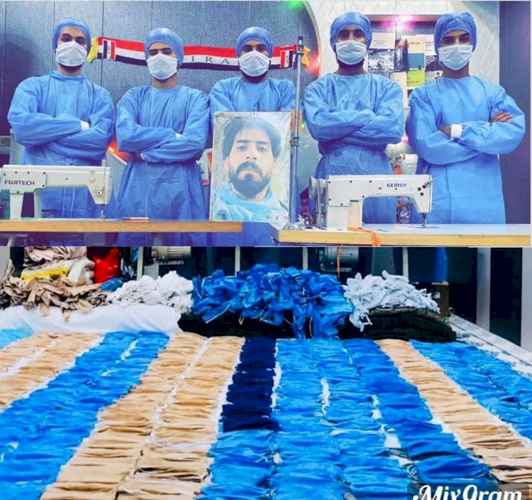 Volunteers produce masks wit the picture of Saraf al Saray, who was an unemployed engineer, a poet and a leder activis, killed by the police and became a symbol for the October Movement.